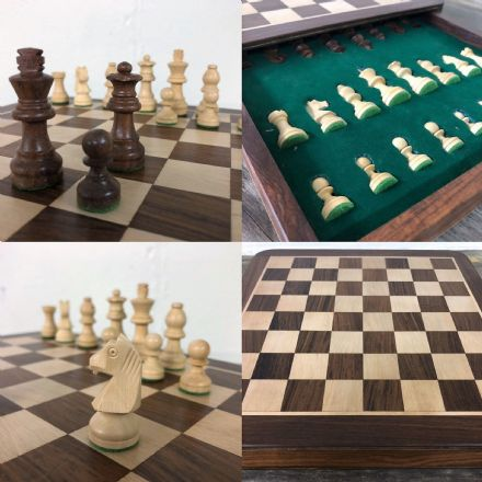 "Sheesham Rosewood Handcrafted 12"" Square Drawer Chess Set Board & Pieces"